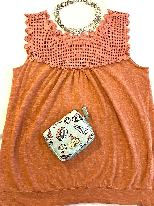 Coral colored sleeveless top by Ann Taylor, size medium (wallet not included)