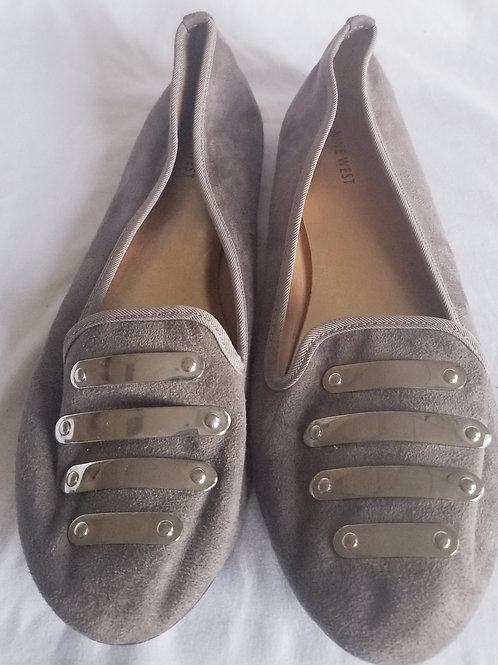 Nine West Suede Loafers with silver detail sz 10