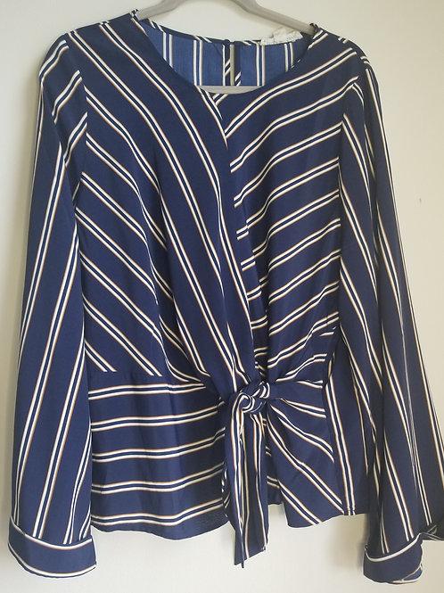 Blue and white striped wrap blouse sz 2X