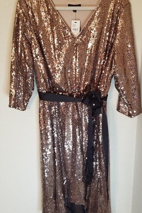 Bronze sequin hi-low party dress by Lane Bryant