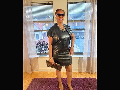 Black faux leather sleeveless tank dress (bolero jacket not included)size large