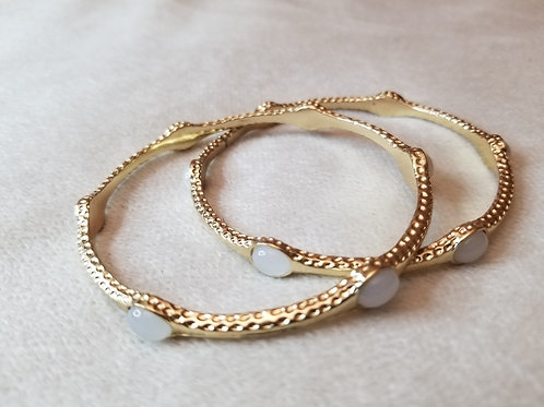 Gold and beaded bangle bracelets (pair)