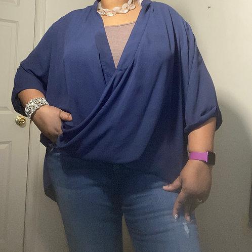 Navy blue criss cross hi-low blouse size 2X