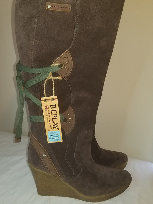 Brown suede Replay wedge boot size 10