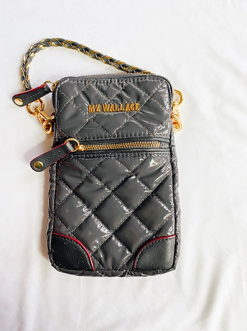 Grey quilted MZ Wallace micro Crosby cell phone holder (11 pro)