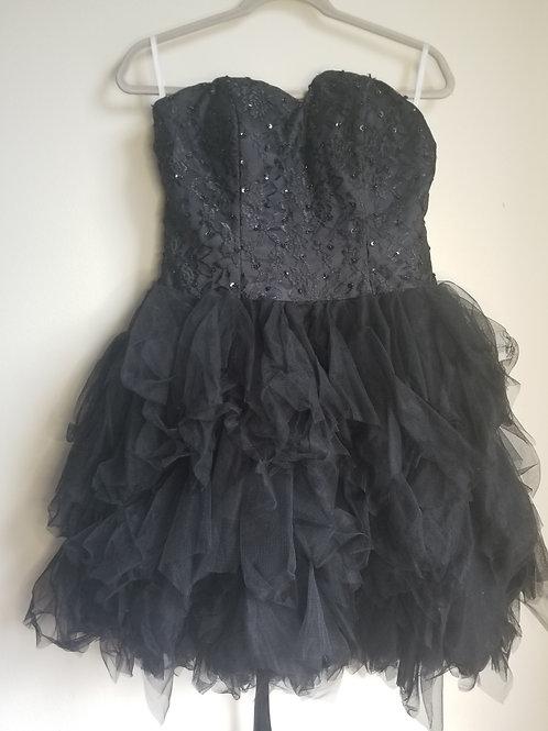 Strapless black corset dress with tulle bottom sz med