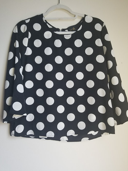 Black and white polka dot blouse sz small