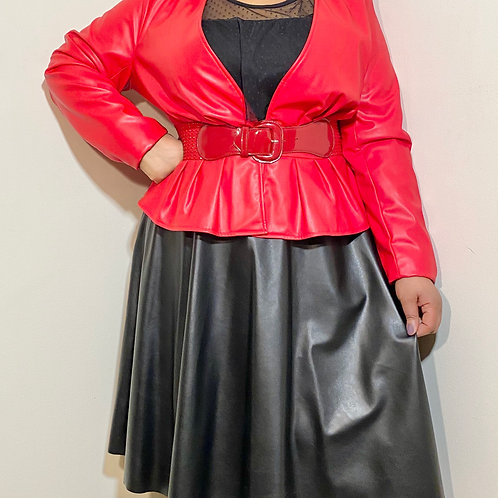 Red faux leather peplum jacket (belt not included) sz 20
