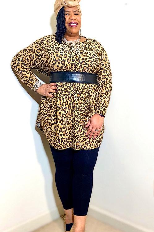 Animal print long sleeve tunic top size 2X