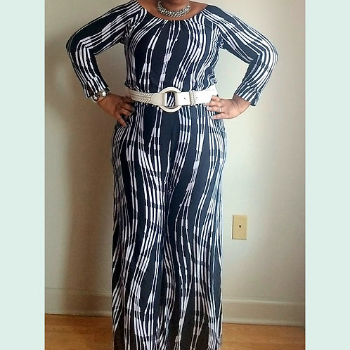Black and White Printed Wide leg Jumpsuit by Milano sz Large