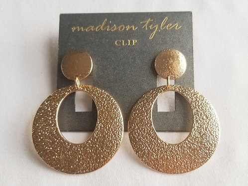 Gold round clip earrings