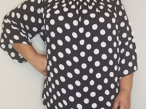 Black and white Polka Dot Blouse with Bell Sleeves sz 3X