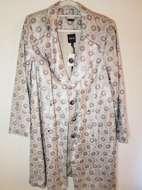 Isabel Toledo Silver Shimmer Linen Chiffon Jacket and dress sz 20