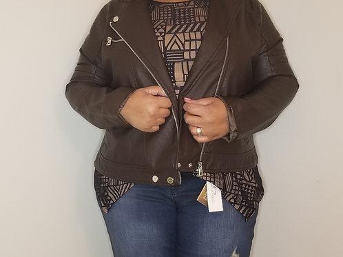 Chocolate vegan leather jacket  sz 2X