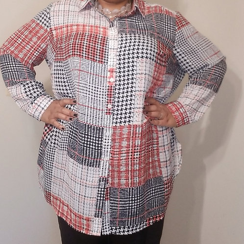 Houndstooth Print Long Sleeve High Low Blouse sz 22/24