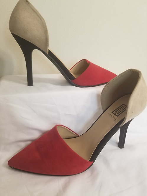 Two toned red and tan suede sole society pump sz 11