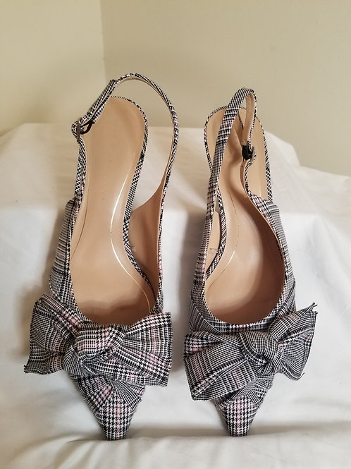 Plaid pointed toe shoes with bow by Zara sz 39