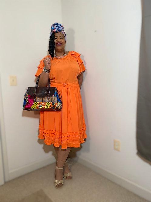 Orange Eloquii dress with ruffled hem. Size 20