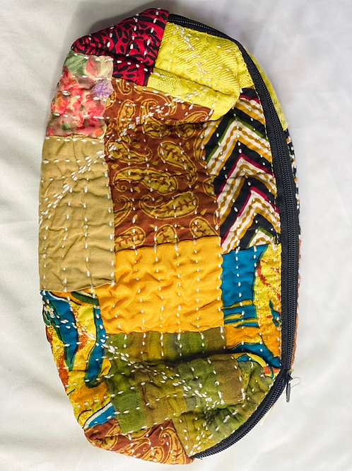Quilted tapestry cosmetic bag