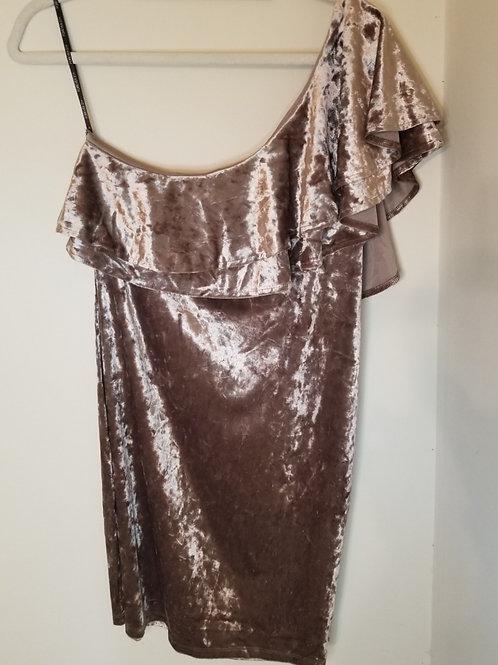 Tan velvet one shoulder party dress by Forever 21 sz 2X