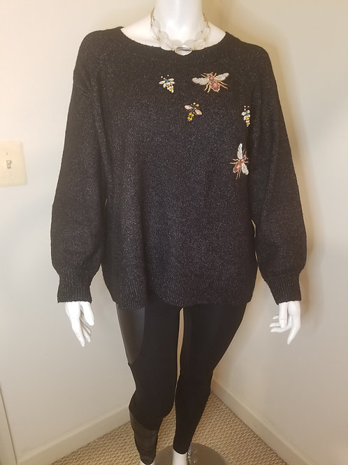 Black sweater with insect jeweled design size 3X