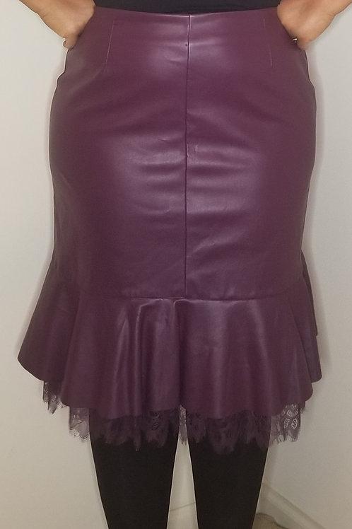 Beautiful wine colored vegan leather skirt sz 18