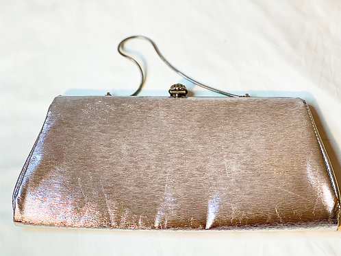 Silver colored evening bag