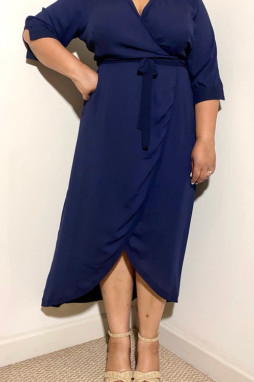 Standards and practices navy blue wrap dress size 1X