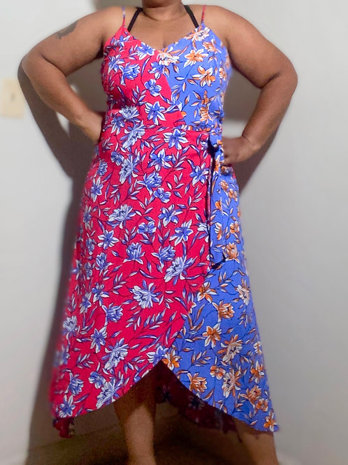 Beautiful floral sleeveless wrap dress