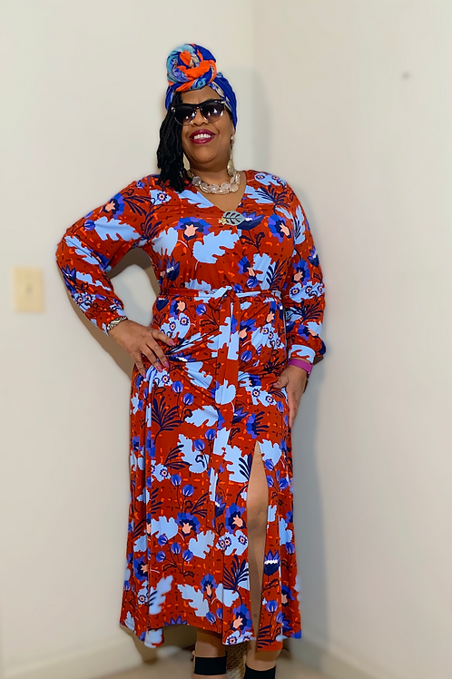 Eloquii printed wrap dress with tie. New with tags, original cost $119