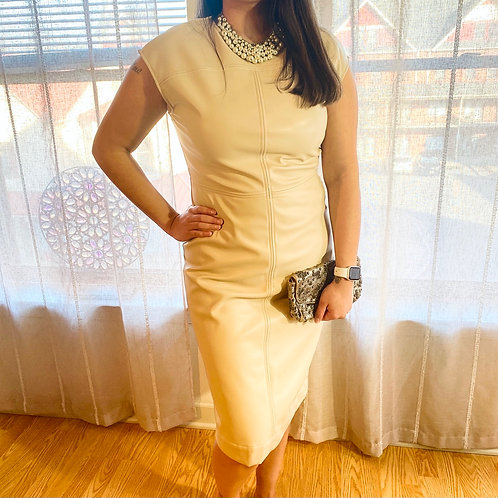 Beautiful cream colored vegan leather dress by Prologue size Small