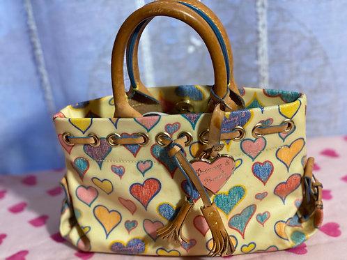 Dooney & Bourke Crayon Scribble hearts multi-color small satchel