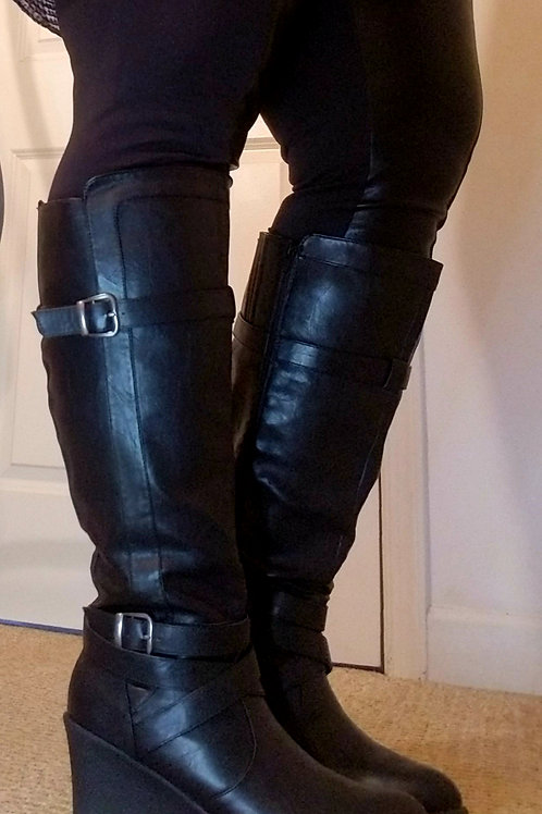 Black leather wedge heel boots by Lane Bryant sz 11