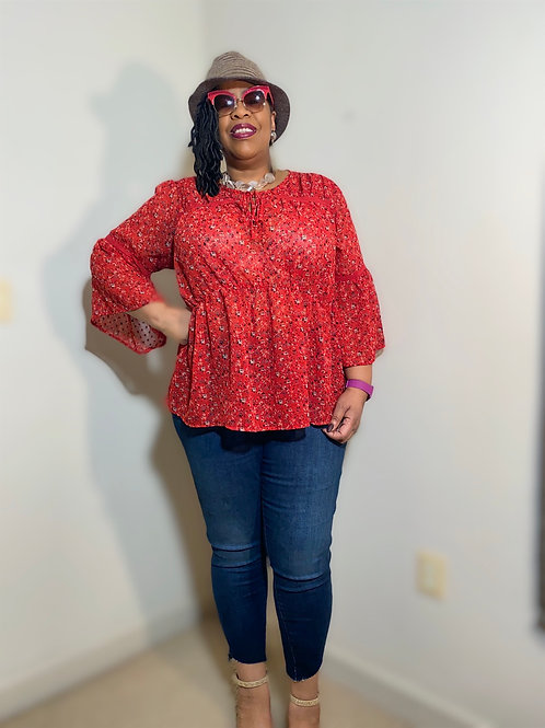 Red Lucky Brand bell sleeve blouse size 2X