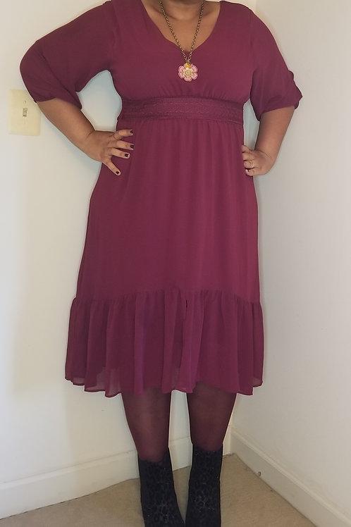 Beautiful wine colored bohemian dress sz 18
