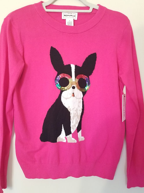 Hot pink sweater with embroidered dog
