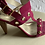 Thumbnail: Trina Turk pink suede sandals with gold tone grommets. Sexy and sleek.