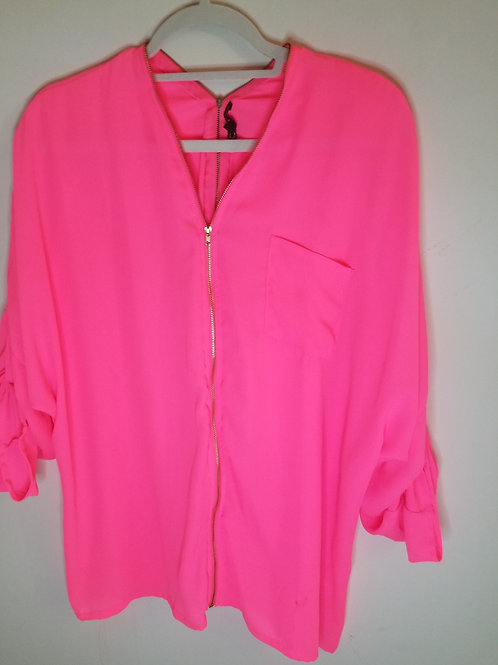Neon pink blouse with gold zipper v-neck detail