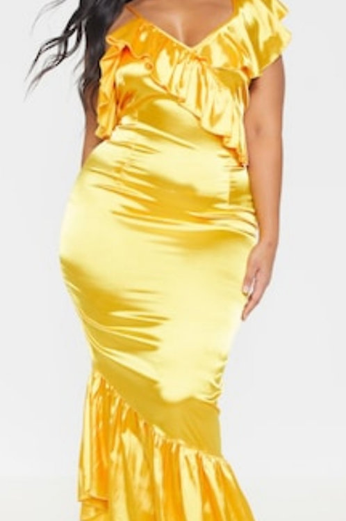 Bright Yellow Satin Maxi sz 2X