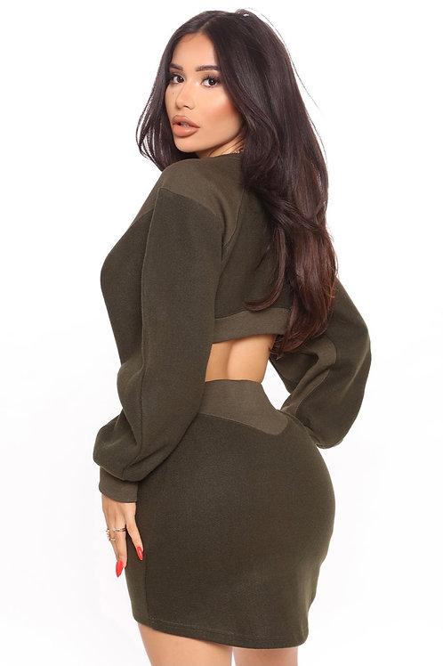 Fashion Nova Olive green mini dress. Size XL