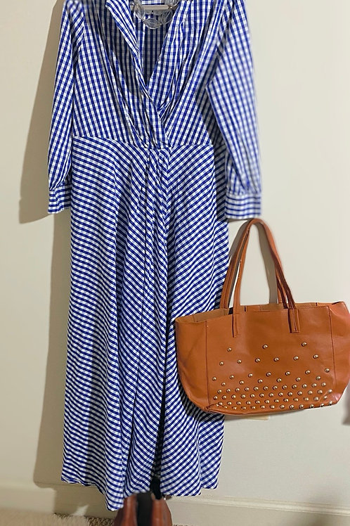 Blue and white checkered maxi dress