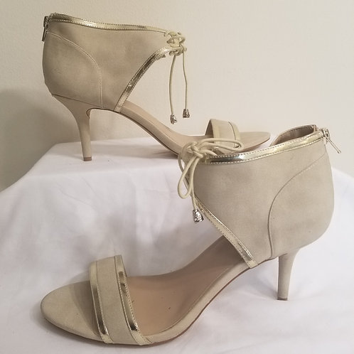 Sole Society tan suede lace up pump with gold detail sz 11 B