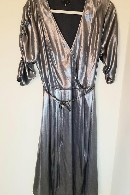 Silver metallic wrap dress sz XL