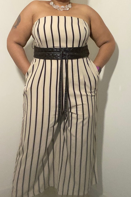 Tan and black striped crop style jumpsuit (belt not included)