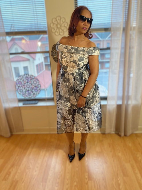 asos floral Bardot organza midi dress, size large