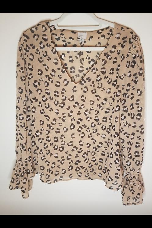 Long sleeve animal print blouse. Size large