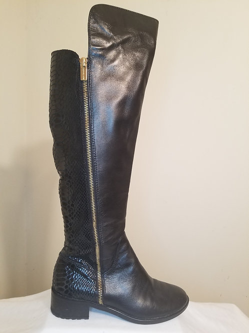 Michael Kors black riding boots with snakeskin back. sz 5