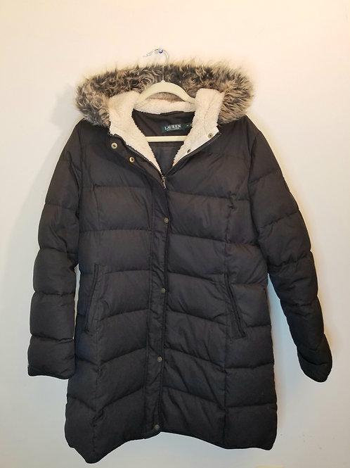 Ralph Lauren Signature snap down puffer coat with faux fur trimmed hood. Sz XL