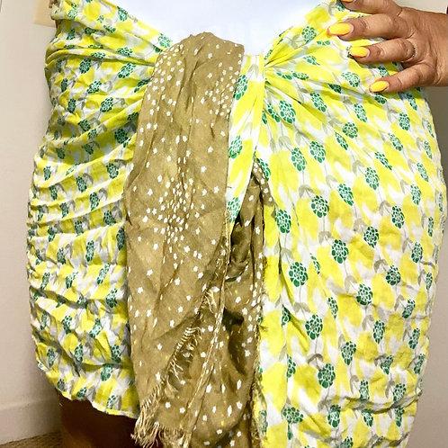 Beautiful yellow printed scarf/wrap