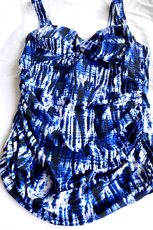 Blue and white the dye slimming swimsuit. Size 18/20
